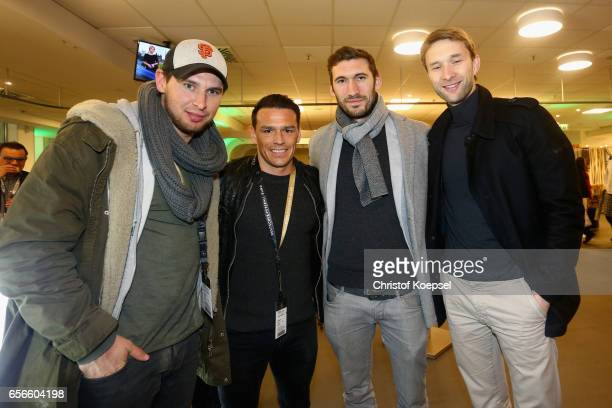 Patrick Helmes Piotr Trochowski Stefan Reinartz and Simon Rolfes pose during the Club of Former National Players Meeting at Signal Iduna Park on...