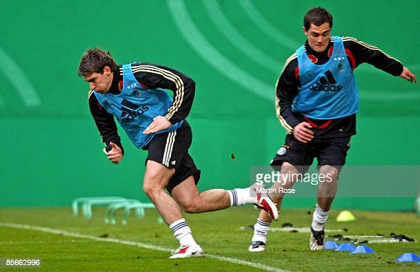 Patrick Helmes runs during the German national team training session on March 27 2009 in Leipzig Germany