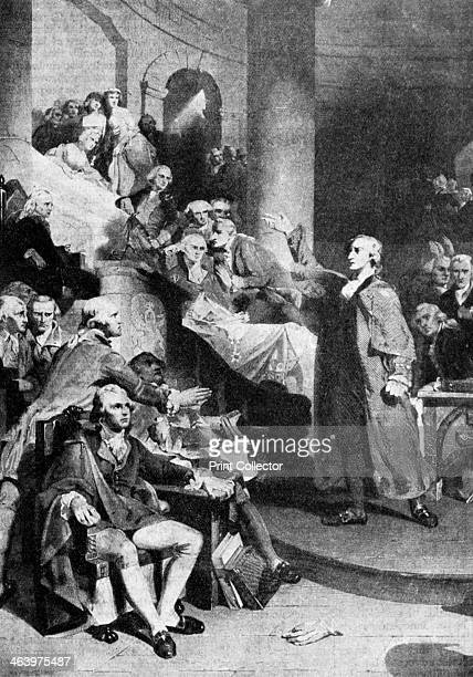 Patrick Henry American revolutionary delivering his famous speech in the House of Burgesses Richmond Virginia USA 1775 Henry was a prominent figure...