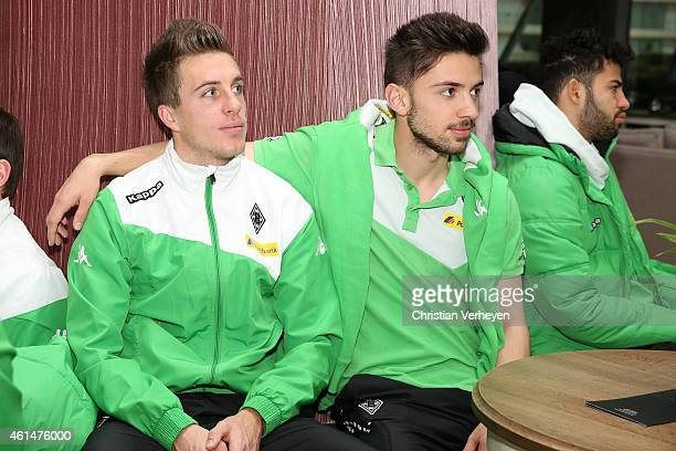 Patrick Herrmann and Julian Korb of Borussia Moenchengladbach at the hotel lobby at day six of Borussia Moenchengladbach training camp on January 13...