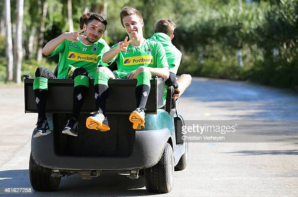 Patrick Herrmann and Julian Korb of Borussia Moenchengladbach in a golf car after a training session at day eight of Borussia Moenchengladbach...