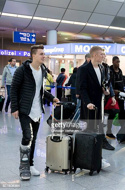 Patrick Herrmann and Marvin Schulz of Borussia Moenchengladbach departs to Barcelona at Airport Duesseldorf on December 05 2016 in Duesseldorf Germany