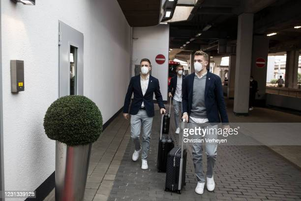 Patrick Herrmann and Matthias Ginter of Borussia Moenchengladbach are seen as the team travel to Budapest for their upcoming UEFA Champions League...