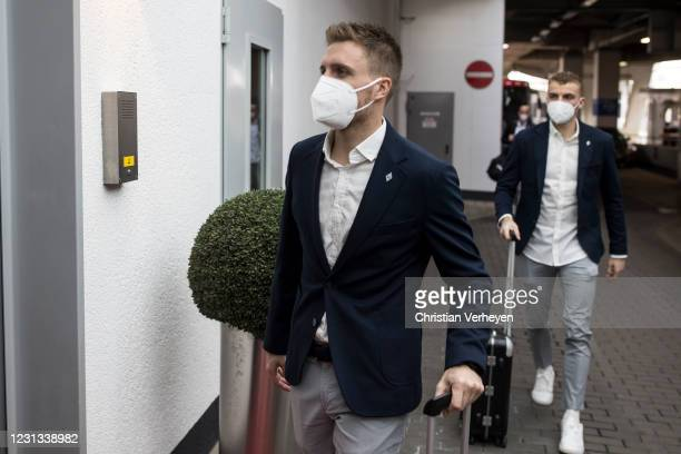 Patrick Herrmann is seen as the team travel to Budapest for their upcoming UEFA Champions League match, at Airport Duesseldorf on February 23, 2021...