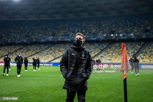 Patrick Herrmann is seen during a site visit of Borussia Moenchengladbach ahead the Group B UEFA Champions League match between Shakhtar Donetsk and...