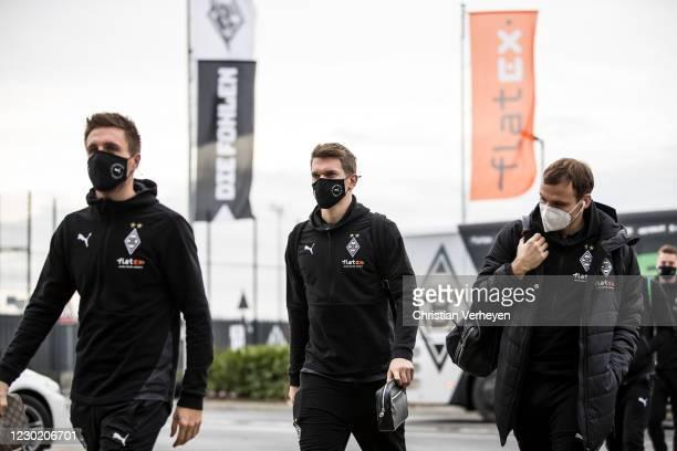 Patrick Herrmann, Matthias Ginter and Tony Jantschke of Borussia Moenchengladbach are seen before the Bundesliga match between Borussia...