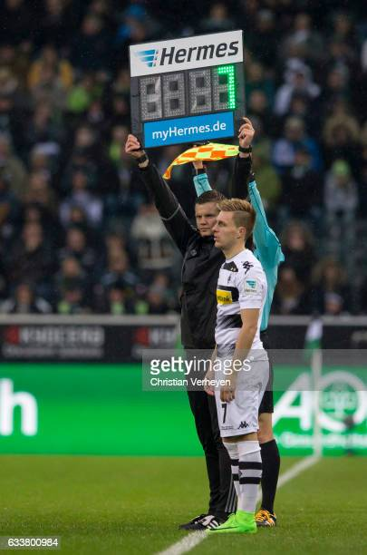 Patrick Herrmann of Borussia Moenchengladbach before his substitute during the Bundesliga Match between Borussia Moenchengladbach and SC Freiburg at...