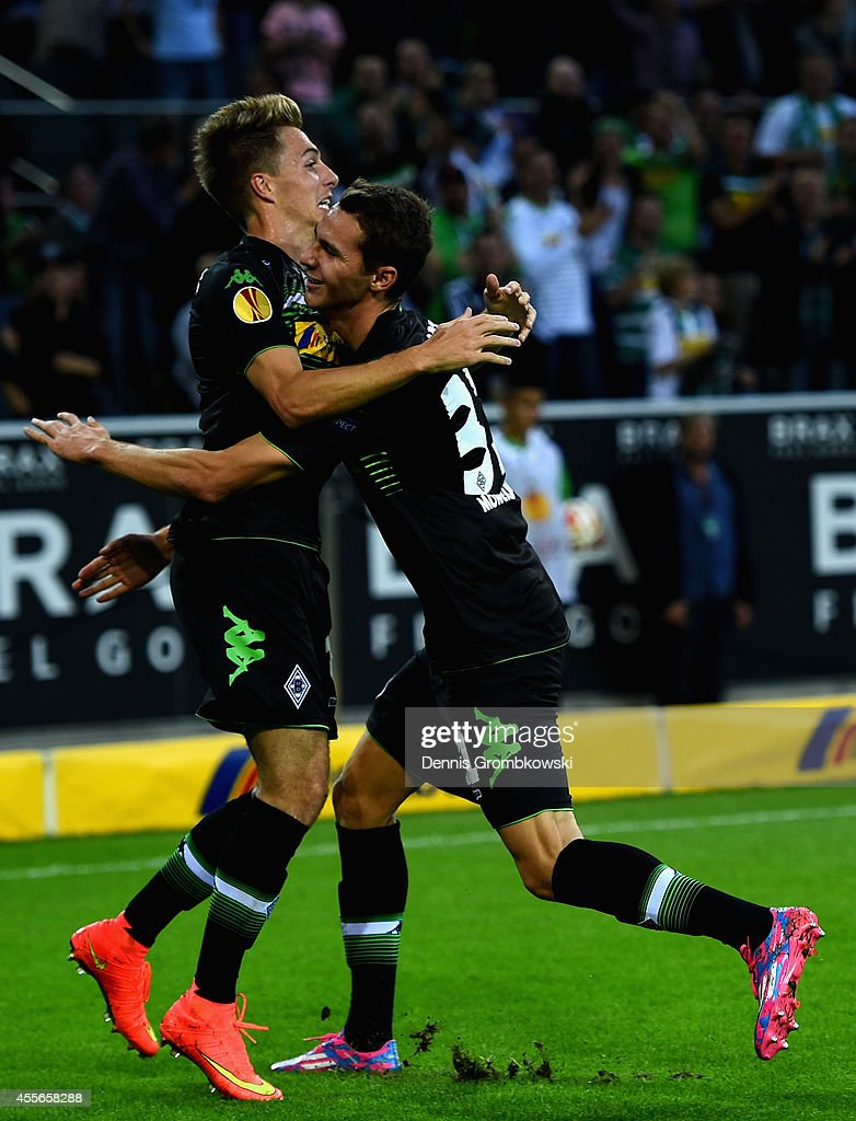 Patrick Herrmann of Borussia Moenchengladbach celebrates the first goal during the UEFA Europa League Group A match between Borussia Moenchengladbach and Villareal CF at Borussia-Park Stadium on September 18, 2014 in Moenchengladbach, Germany.