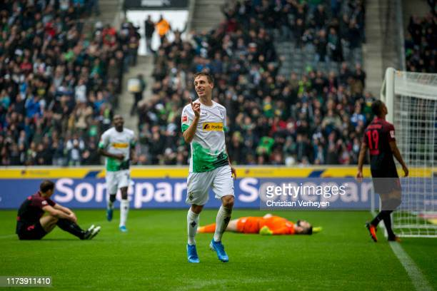 Patrick Herrmann of Borussia Moenchengladbach celebrates the teams third goal during the Bundesliga match between Borussia Moenchengladbach and FC...