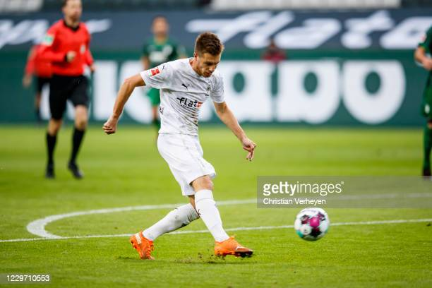 Patrick Herrmann of Borussia Moenchengladbach in action during the Bundesliga match between Borussia Moenchengladbach and FC Augsburg at BorussiaPark...