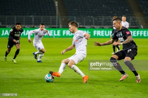Patrick Herrmann of Borussia Moenchengladbach in action during the Bundesliga match between Borussia Moenchengladbach and SV Werder Bremen at...