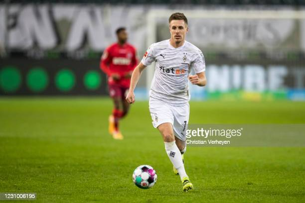 Patrick Herrmann of Borussia Moenchengladbach in action during the Bundesliga match between Borussia Moenchengladbach and 1.FC Koeln at Borussia-Park...