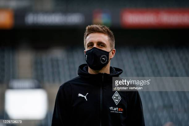 Patrick Herrmann of Borussia Moenchengladbach is seen before the Bundesliga match between Borussia Moenchengladbach and FC Augsburg at BorussiaPark...
