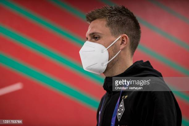 Patrick Herrmann of Borussia Moenchengladbach is seen before the UEFA Champions League Round Of 16 Leg Two match between Manchester City and Borussia...