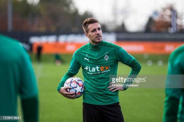 Patrick Herrmann of Borussia Moenchengladbach is seen during a Borussia Moenchengladbach Training session ahead the Group B UEFA Champions League...