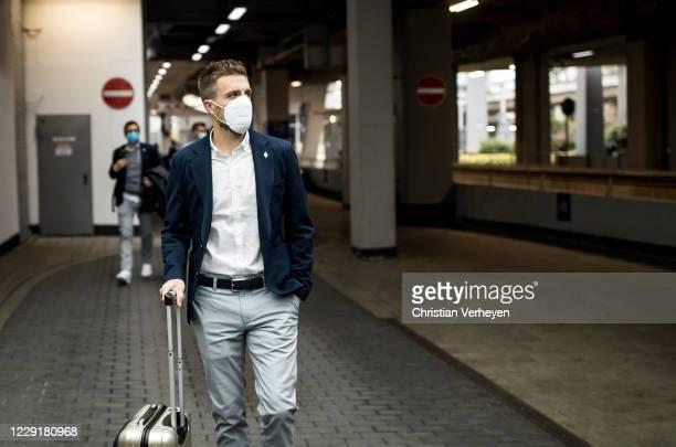 Patrick Herrmann of Borussia Moenchengladbach is seen during Borussia Moenchengladbach departs to the Group B UEFA Champions League match between FC...