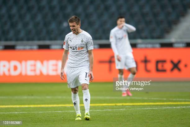 Patrick Herrmann of Borussia Moenchengladbach is seen during the Bundesliga match between Borussia Moenchengladbach and Bayer 04 Leverkusen at...