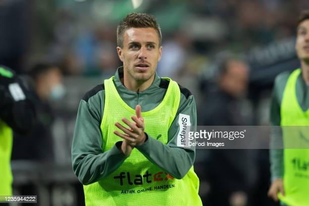 Patrick Herrmann of Borussia Moenchengladbach looks on during the Bundesliga match between Borussia Mönchengladbach and VfB Stuttgart at...