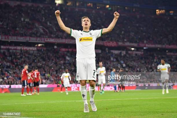 Patrick Herrmann of Borussia Monchengladbach celebrates after scoring his team's third goal during the Bundesliga match between FC Bayern Muenchen...