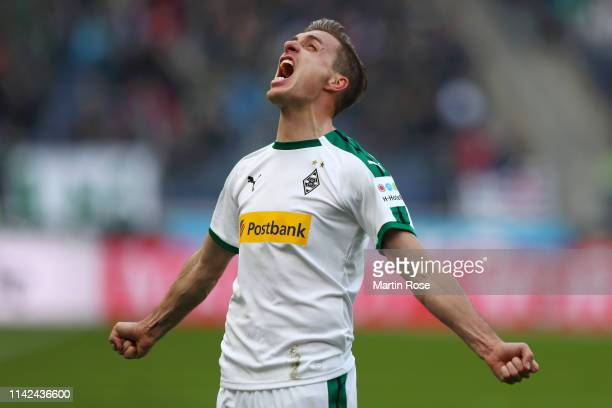 Patrick Herrmann of Borussia Monchengladbach celebrates after scoring his team's second goal during the Bundesliga match between Hannover 96 and...