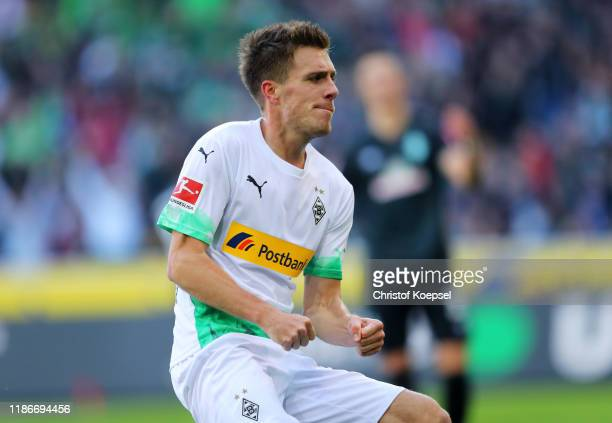 Patrick Herrmann of Borussia Monchengladbach celebrates after scoring his team's second goal during the Bundesliga match between Borussia...