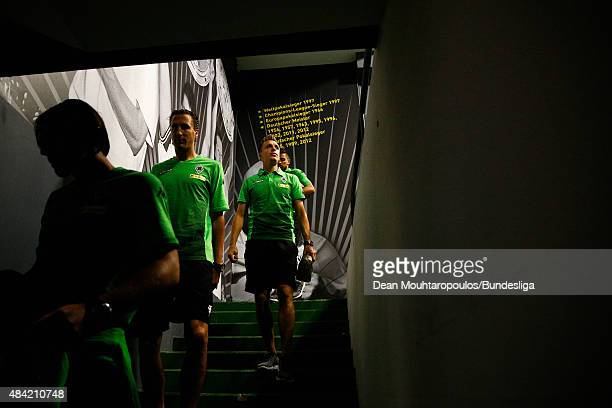 Patrick Herrmann of Borussia Monchengladbach walks down the stairs into the dressing rooms prior to the Bundesliga match between Borussia Dortmund...