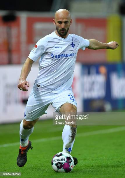 Patrick Herrmann of Darmstadt in action during the Second Bundesliga match between SC Paderborn 07 and SV Darmstadt 98 at Benteler Arena on March 05,...