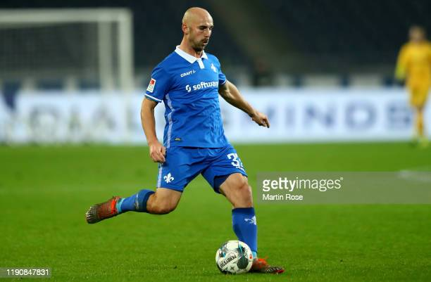 Patrick Herrmann of Darmstadt runs with the ball during the Second Bundesliga match between Hannover 96 and SV Darmstadt 98 at HDI-Arena on November...