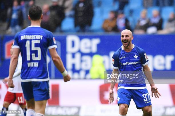 Patrick Herrmann of SV Darmstadt 98 celebrate after the Second Bundesliga match between Hamburger SV and SV Darmstadt 98 at Volksparkstadion on March...