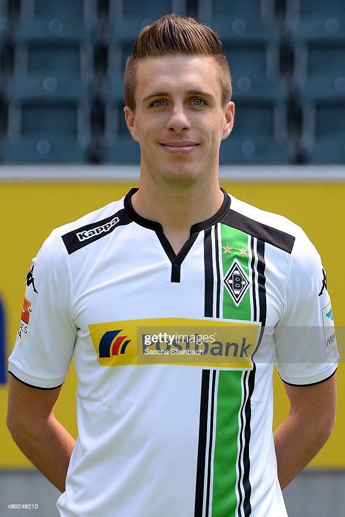 Patrick Herrmann poses during the team presentation of Borussia Moenchengladbach at Borussia-Park on July 10, 2015 in Moenchengladbach, Germany.
