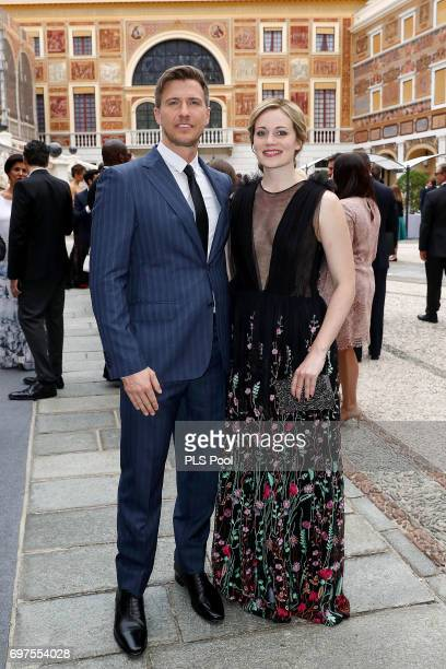 Patrick Heusinger and Cara Theobold attend the cocktail party of the 57th Monte Carlo TV Festival at the Monaco Palace on June 18 2017 in MonteCarlo...