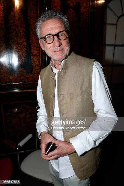 Patrick Hourcade attends the Tan Giudicelli Exhibition of drawings and accessories preview at Galerie Pierre Passebon on June 28 2018 in Paris France