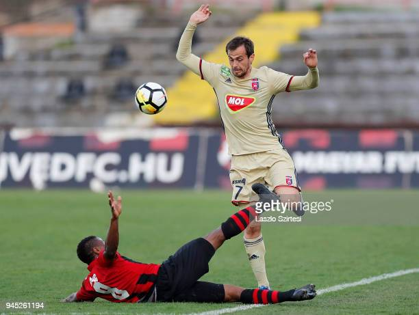 Patrick Ikenne King of Budapest Honved fouls Danko Lazovic of Videoton FC during the Hungarian OTP Bank Liga match between Budapest Honved and...
