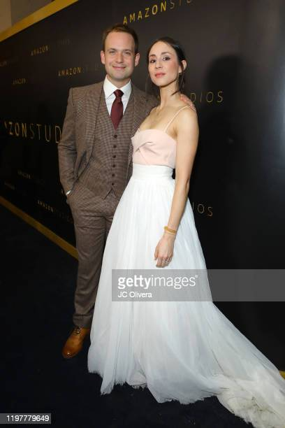 Patrick J. Adams and Troian Bellisario attend the Amazon Studios Golden Globes After Party at The Beverly Hilton Hotel on January 05, 2020 in Beverly...