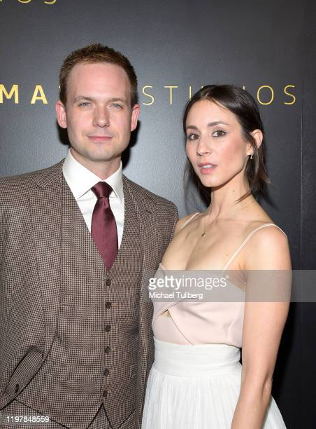Patrick J Adams and Troian Bellisario attend the Amazon Studios Golden Globes after party at The Beverly Hilton Hotel on January 05 2020 in Beverly...