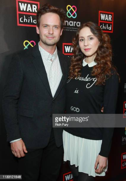 Patrick J Adams and Troian Bellisario attends the Good For A Laugh comedy fundraiser to support children affected by war at Largo At The Coronet on...