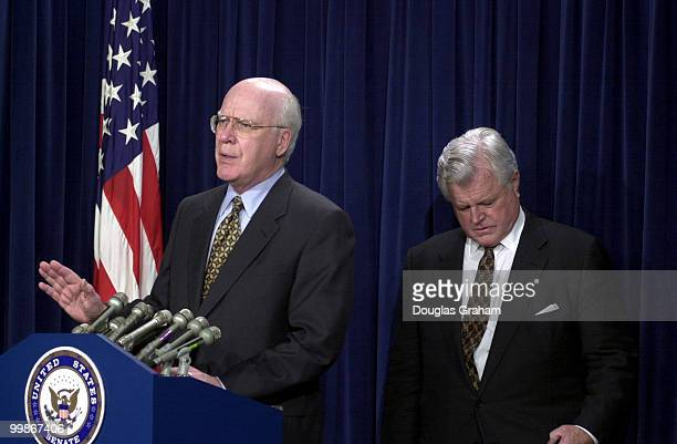 Patrick J Leahy DVt and Edward M Kennedy DMass during a press conference after the Senate voted to approve John Ashcroft as Attorney General