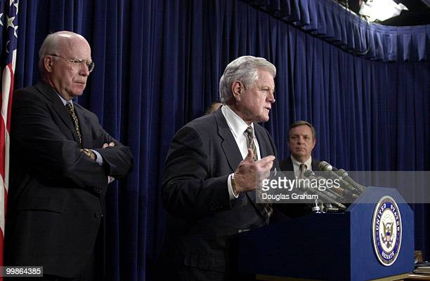 Patrick J Leahy DVt Edward M Kennedy DMass and Richard J Durbin DIll during a press conference after the Senate voted to approve John Ashcroft as...