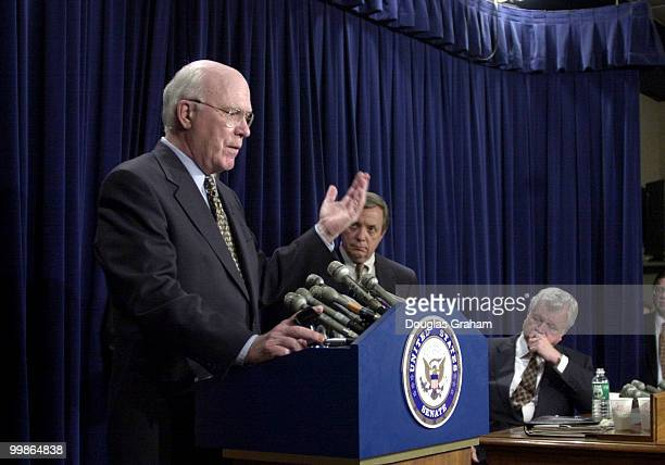 Patrick J Leahy DVt makes a point as Richard J Durbin DIll and Edward M Kennedy DMass look on during a press conference after the Senate voted to...