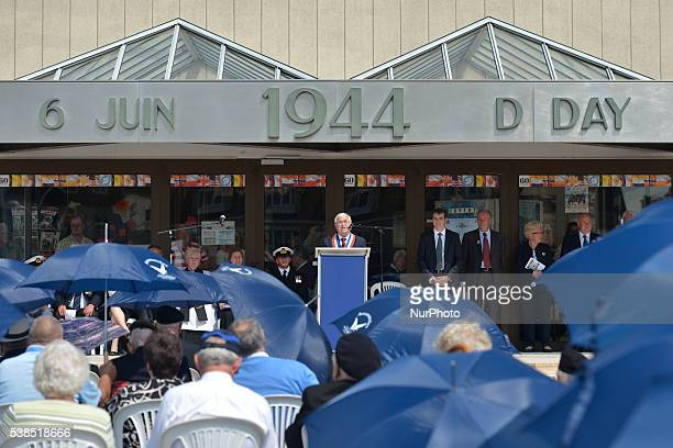 Patrick Jardin, the Major of Arromanches, speak to D-Day and Normandy 1944 British veteransduring the Service of Remembrance and Thanksgiving, on the...