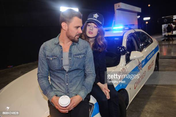 Patrick John Flueger and Marina Squerciati take part in a behindthescenes show and tell at the NBC 'One Chicago' press day on October 30 2017 in...