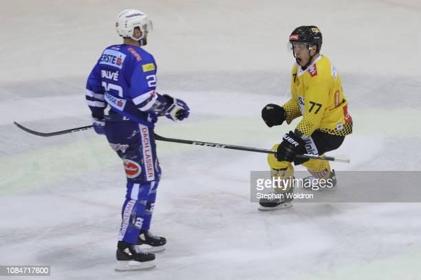 Patrick Joseph Mullen of Vienna celebrates during the Vienna Capitals v EC VSV Erste Bank Eishockey Liga at Erste Bank Arena on January 18 2019 in...