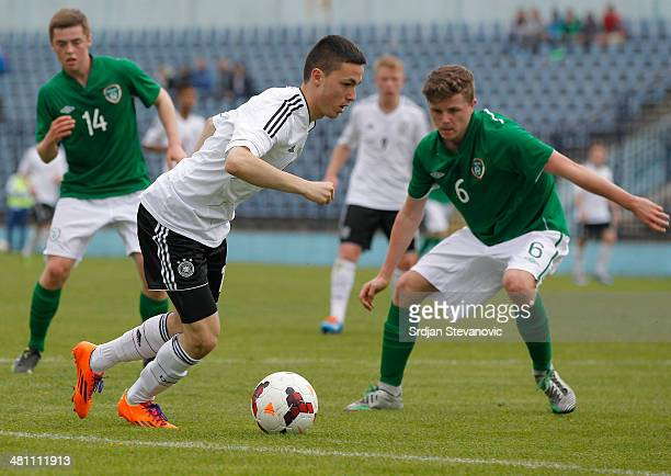 Patrick Kammerbauer of Germany in action against Adam Mc Donnell of Ireland during the UEFA Under17 Elite Round between Germany and Ireland at...