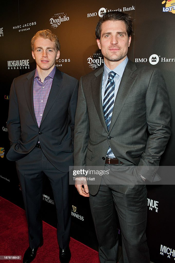 Patrick Kane and Patrick Sharp of the Chicago Blackhawks attend the Michigan Avenue Magazine November issue celebration at Carnivale on November 12, 2013 in Chicago, Illinois.