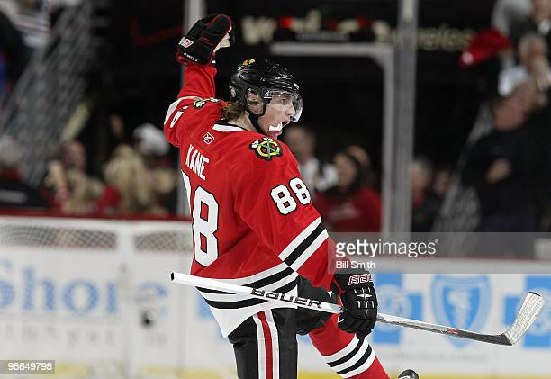Patrick Kane of Chicago Blackhawks celebrates after scoring and tying the game up in the third against the Nashville Predators at Game Five of the...