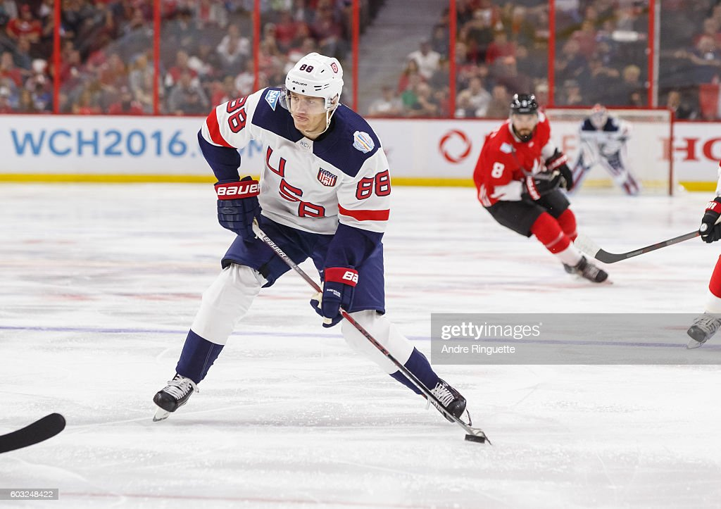 2faabe8e8 Patrick Kane of Team USA skates during the World Cup of Hockey 2016 ...