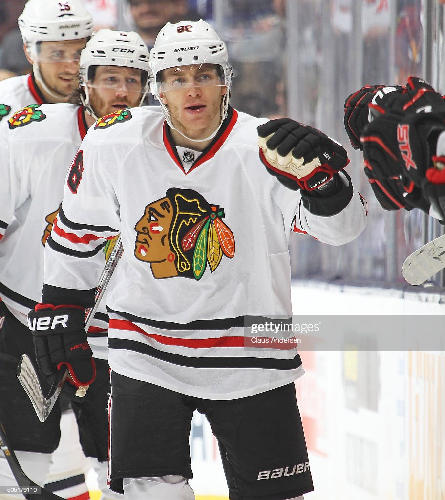Patrick Kane #88 of the Chicago Black Hawks celebrates a goal against the Toronto Maple Leafs during an NHL game at the Air Canada Centre on January 15, 2016 in Toronto, Ontario, Canada. The Black Hawks defeatyed the Maple Leafs 4-1.