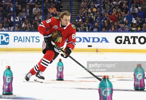 Patrick Kane of the Chicago BlackhaPatrick Kane of the Chicago Blackhawkscompetes in the PPG NHL Hardest Shot challenge during 2018 GEICO NHL AllStar...
