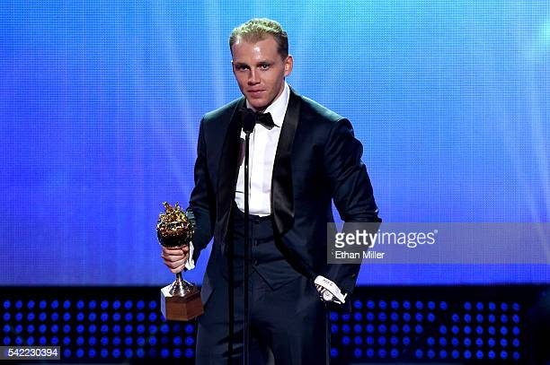Patrick Kane of the Chicago Blackhawks accepts the Hart Trophy awarded to the player who is the most valuable to his team during the 2016 NHL Awards...