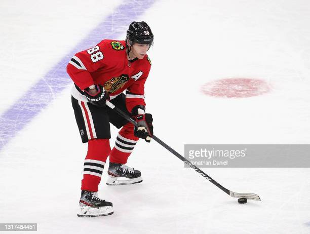 Patrick Kane of the Chicago Blackhawks advances the puck against the Dallas Stars at the United Center on May 10, 2021 in Chicago, Illinois. The...